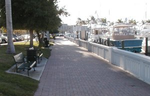 Bradenton sidewalk fronting the Marina