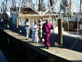 Bishop and clergy bless the fleet